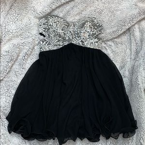 WORN ONCE Strapless black and sequin dress